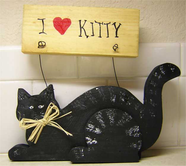 Wood Crafts - I Love Kitty Sign Pattern