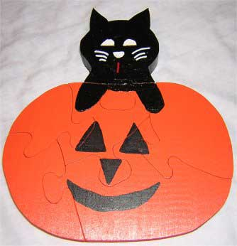 Kids Halloween Puzzles - Pumpkin and Cat Puzzle