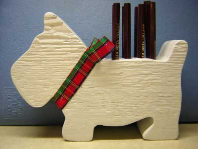Free Woodworking Plans :: Scotty Dog Pen and Pencil Holder